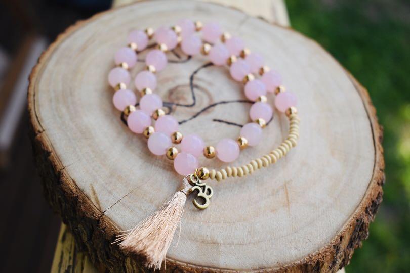 Matte Rose Quartz and Wood small beads, 'Love and Healing', 27 Bead Wrist Mala Wrap Bracelet