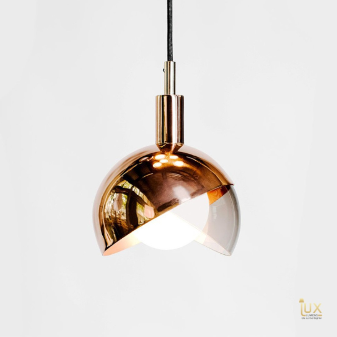 Modern hemisphere rose gold pendant light