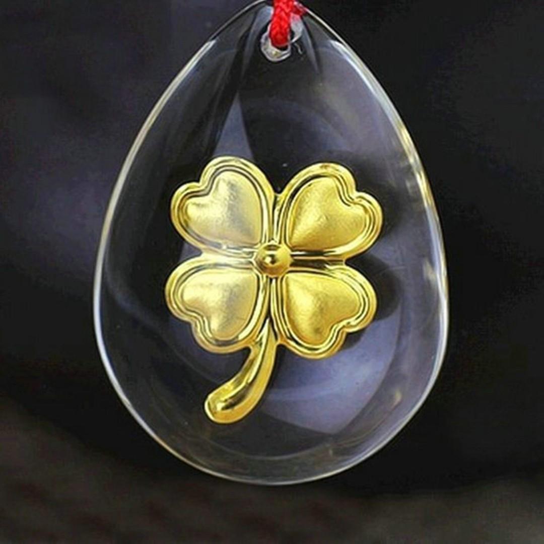 NEW 24K 999.9 Yellow Gold Foil Women's Men's Man-made Crystal Pendant - Lucky Leaf HengHeng Huat - Free Postage