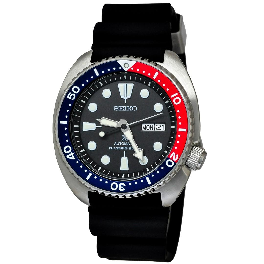 SEIKO / SRPA77K1  / PROSPEX / TURTLE / AUTOMATIC / MENS / 44 MM / 20ATM / RUBBER STRAP / BLACK DIAL / BLUE RED BEZEL RING