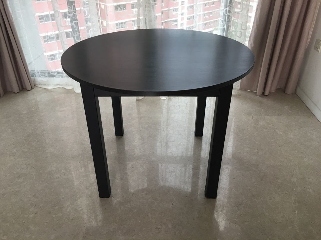 Small Round Dining Table Black Wood Veneer Furniture Tables Chairs On Carousell