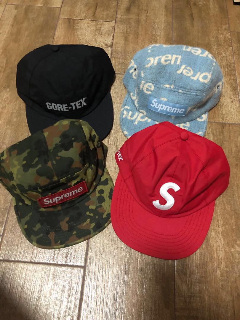 d3c1a6d8 Supreme FW18 Gore-tex 6 panel black cap + Harris tweed camp cap ...