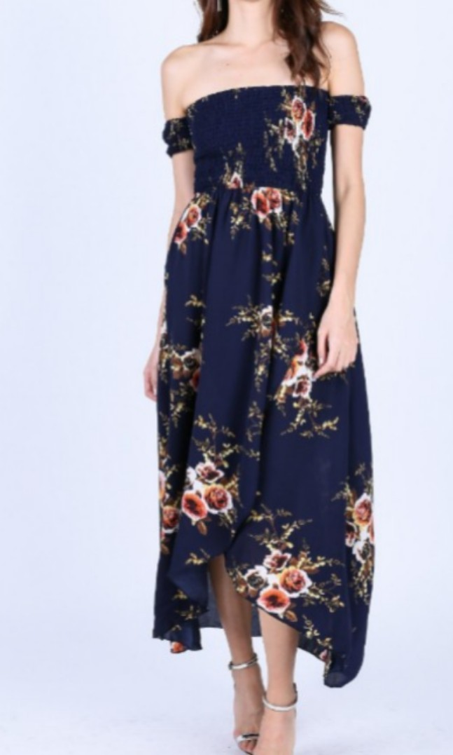 ed30c972cf82 Topazette Leda Floral Maxi Dress in Navy, Women's Fashion, Clothes, Dresses  & Skirts on Carousell