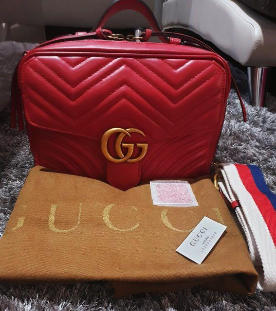 VGC Gucci GG Red Marmont matelassé shoulder bag, db, strap, tag, sample leather