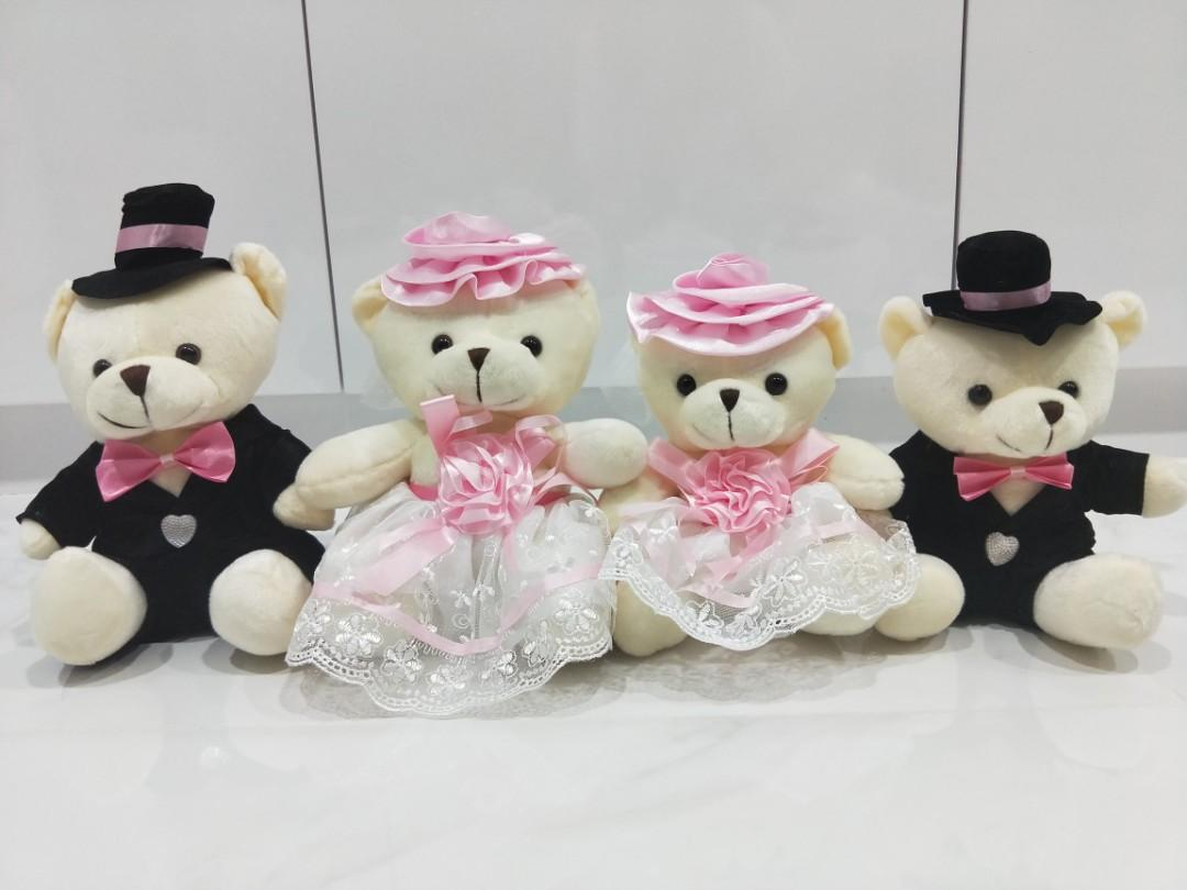 Wedding Bear (approx 19cm) Valentine gift Wedding present Car decoration Cute table decoration Pink white Red Soft Toy Bride Groom