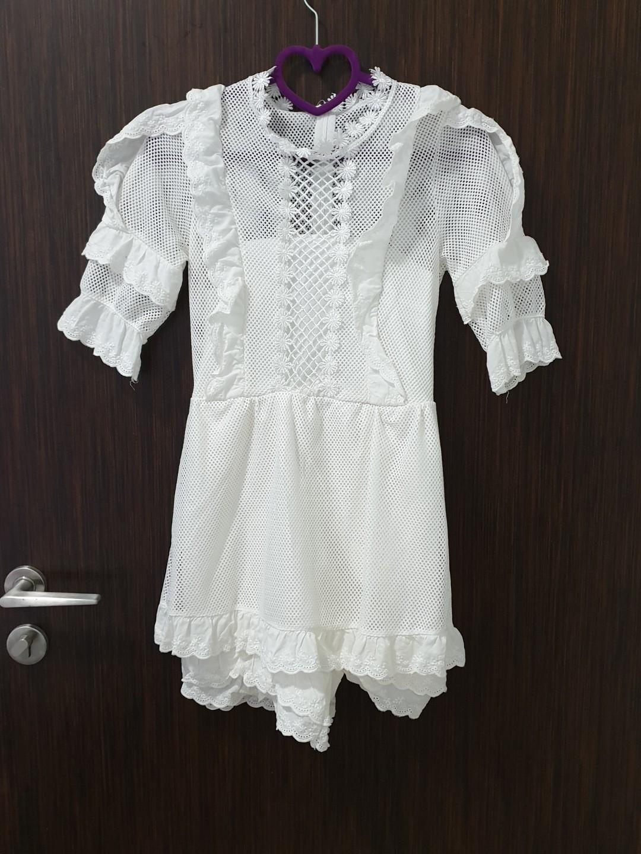 White Crochet Romper