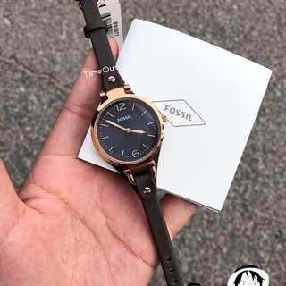 Fossil Ladies' Georgia Rose Gold-Tone Leather Watch