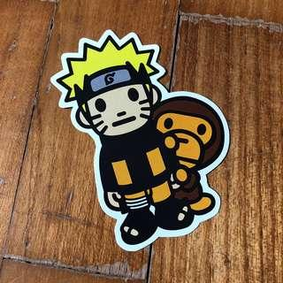 Pop Culture Luggage Laptop Misc Sticker BAPE Bathing Ape Collaboration Japanese Anime Naruto Uzumaki Hokage Nine Tail Wolf