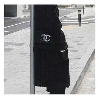 (BLACK3) Chanel Plush Cosmetic Small Bag (#SnapEndGame)