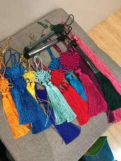 Colorful lucky knot tassels