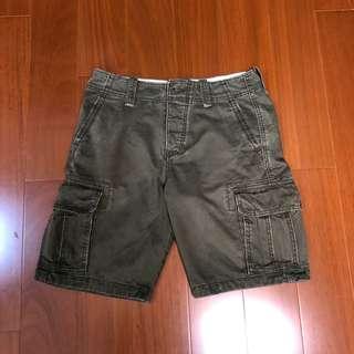 (Size 30w版稍大)Hollister 軍綠色重磅短褲