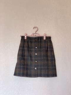 [全新 未剪牌] Air Space 高腰綠格紋校園風短裙 high waist green checks skirt Smart Causal 番工 出街都可以