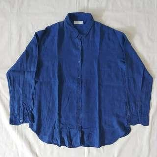 Linen shirt indigo uniqlo