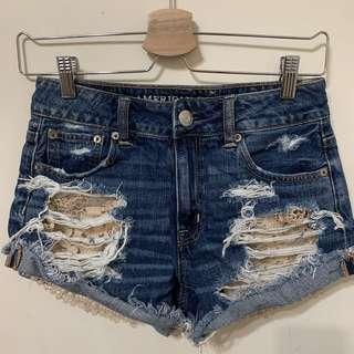 American Eagle刷破牛仔短褲 蕾絲口袋 /AE牛仔短褲 /歐美牛仔短褲