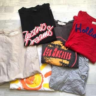 assorted graphic tees