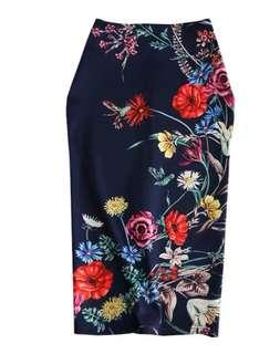 Floral Pencil Skirt - Navy