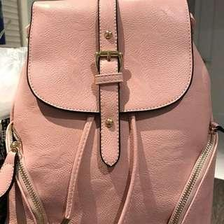 Pink Synthetic Bleather Backpack