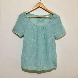 MINT/TEAL SHEER BOW TOP