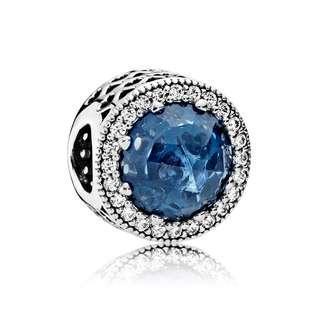 PANDORA radiant blue hearts charm