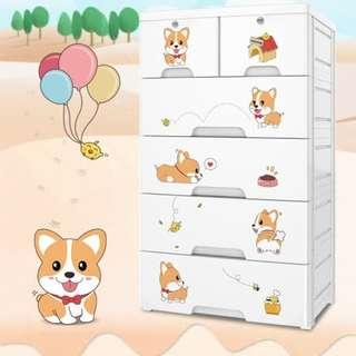 旺汪萌狗系列五層玩具衣物抽屜收納櫃四大二小抽
