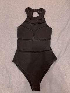Black body suit 黑色拼接連體衣