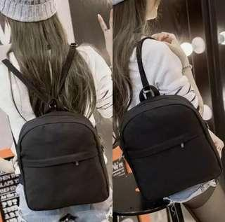 🚚 Semi Round Plain Canvas Zip Backpack Bag