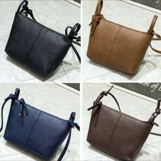 Mini Plain Zip Sling Bag For Ladies