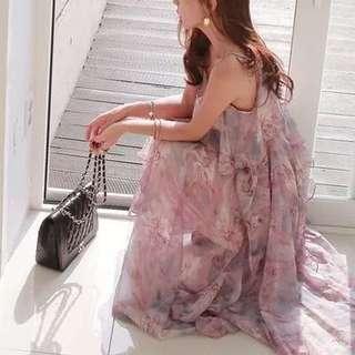 波希米亞渡假風荷葉邊吊帶雪紡連身裙