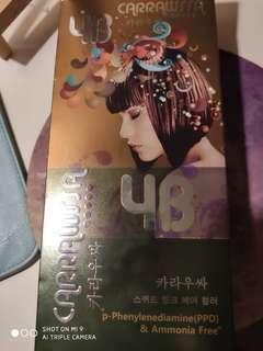 全新韓國植物染髮劑 carrawssa 4B rich brown 不含ppd 份量多,可以用幾次