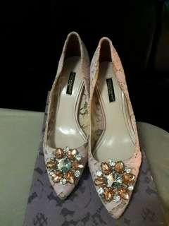 D&G belluci lace pump shoes mirror vip quality with dust bag and box