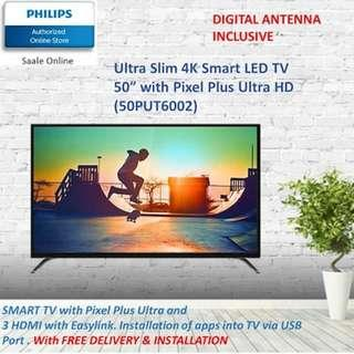 PHILIPS SMART LED TV of ultra slim 4K Available in 50inch - 50PUT6002 or 43inch - 43PUT6002