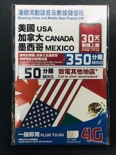 和記 3HK 美國 加拿大 墨西哥 USA CANADA MEXICO T Mobile 4G LTE 3G 30天無限上網 加350分鐘通話 漫遊流動數據儲值卡