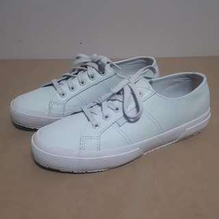 Superga Womens Off-White Leather Sneakers Size 38/7.5US