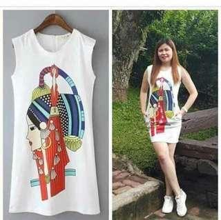 Egypt Print Pocketed Dress Blouse