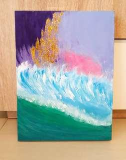 Abstract seascape painting waves sea pastel gold aqua original Acrylic pink purple wall decor colourful