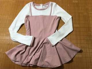 【賠售求出清300免郵資,勿議價】韓國製甜美感粉白色洋裝/假兩件上衣/下擺裙子感/連身裙/原價近1500元