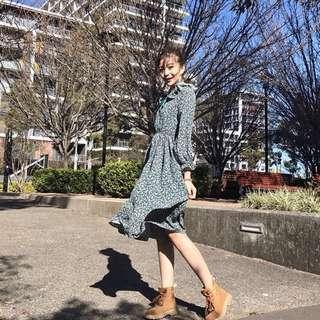 秋冬韓版長袖高腰連身裙(小碎花雪紡)