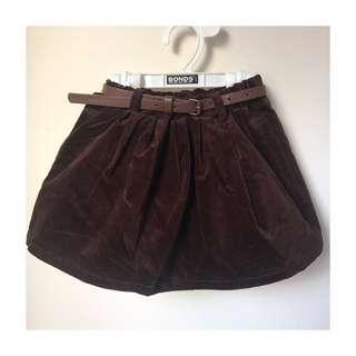 *NEW* brown velvet belted skirt size 4