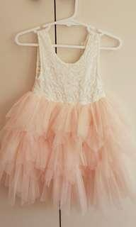 Girls pink tulle and lace party dress