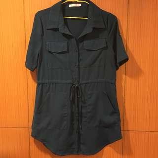 【Lace】藍綠色長襯衫