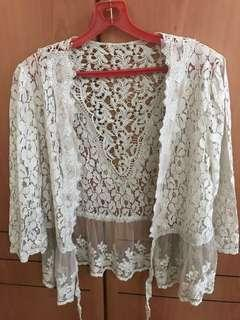 🚚 Lace Cardigan embroidered lace blouse top good quality lace which can worn open and tie it at the front