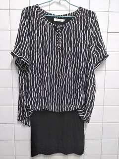 代賣黑色條紋紡紗洋裝 沒彈性
