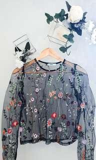 Valley Girl Floral Mesh Top