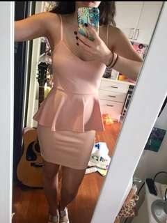 Pale Pink Boohoo Peplum dress (RRP $100)