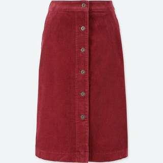 Women's high waist corduroy front buckle skirt 412673