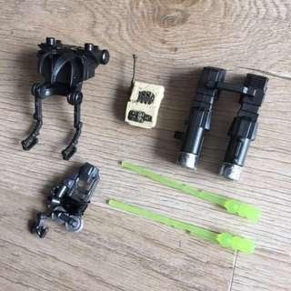 Star Wars 3 3/4 figure accessories cannon back pack harpoon jet