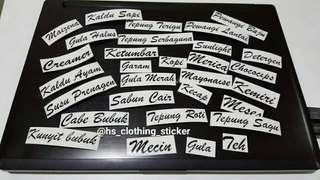 sticker label bumbu dapur shabbychic cutting sticker