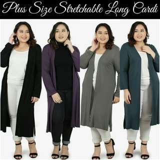 PLUS SIZE STRETCHABLE LONG CARDI - instock limited