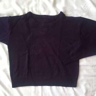 Navy Knit Crop Sweater