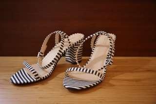全新!Velvet 條紋 繞帶 粗跟涼鞋 春夏必敗